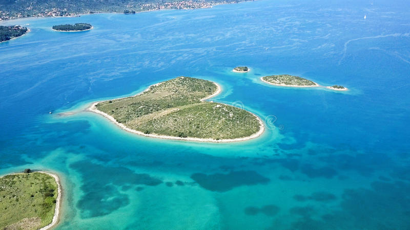 Heart shaped Galesnjak island on the adriatic royalty free stock photos
