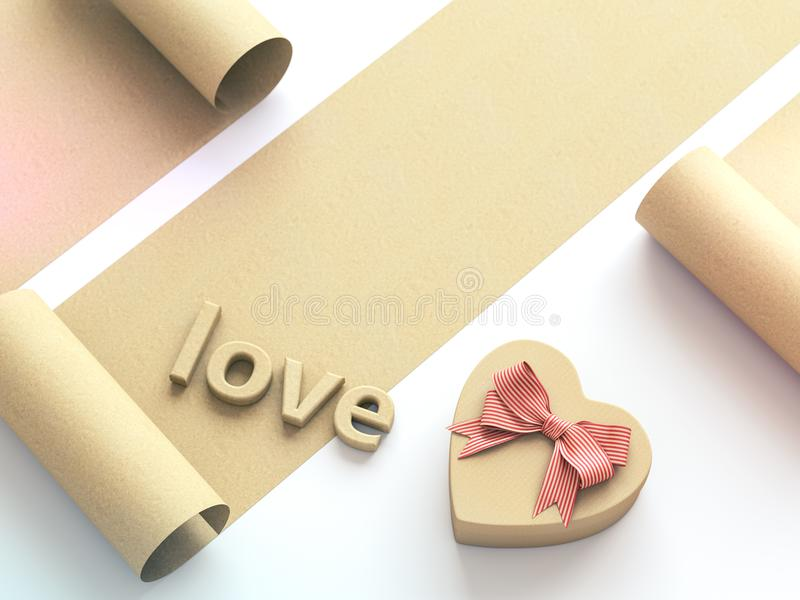 Heart shaped gift box with bow and word Love. 3D render royalty free illustration