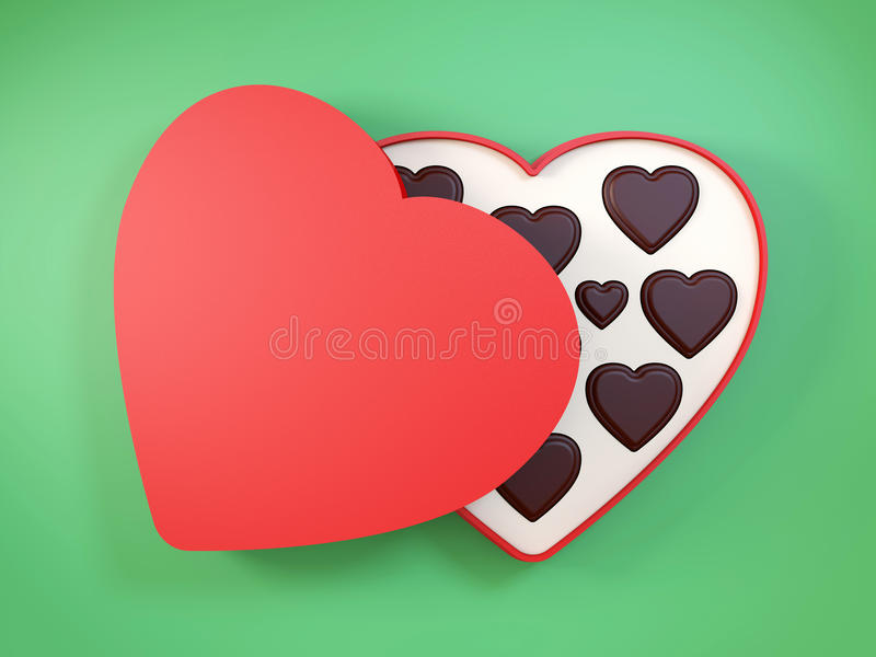 Heart shaped gift box having chocolates. 3D. vector illustration