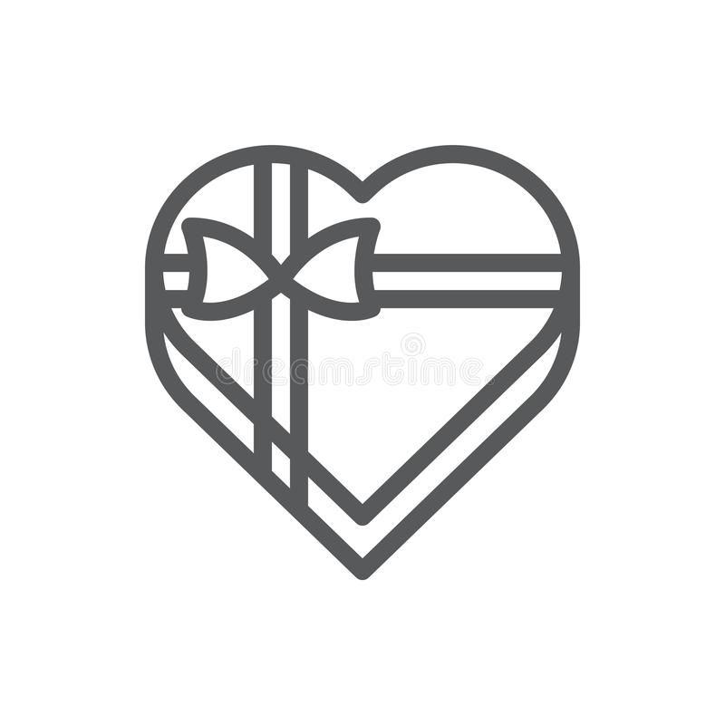Heart shaped gift box line icon with editable stroke - isolated vector illustration of romantic wrapped present package decorated. With ribbon and bow for vector illustration