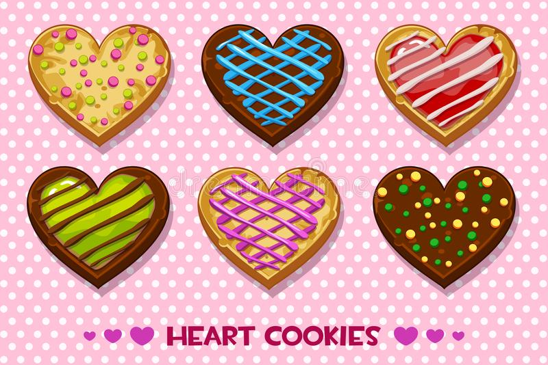 Heart shaped Gingerbread and chocolate cookies with multi-colored glaze, set Happy Valentines day royalty free illustration