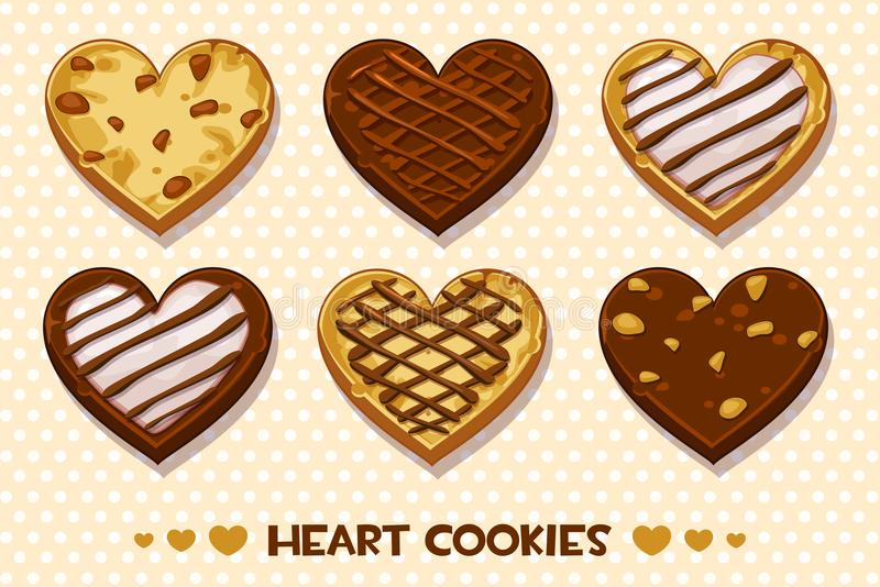 Heart shaped Gingerbread and chocolate cookies, set Happy Valentines day royalty free illustration