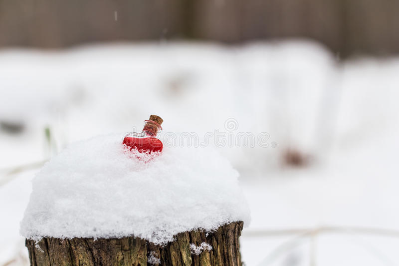Heart-shaped glass vial filled with love potion in winter forest stock photo