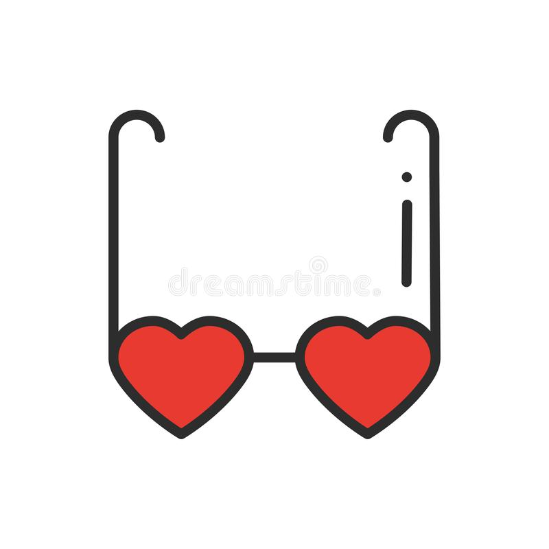 Heart shaped glasses line icon. Retro sunglasses with red hearts. Happy Valentine day sign and symbol. Heart shape. Love stock illustration