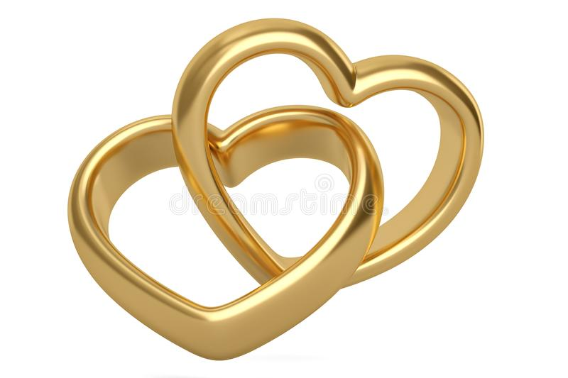 Heart shaped gold rings on white background.3D illustration. royalty free illustration