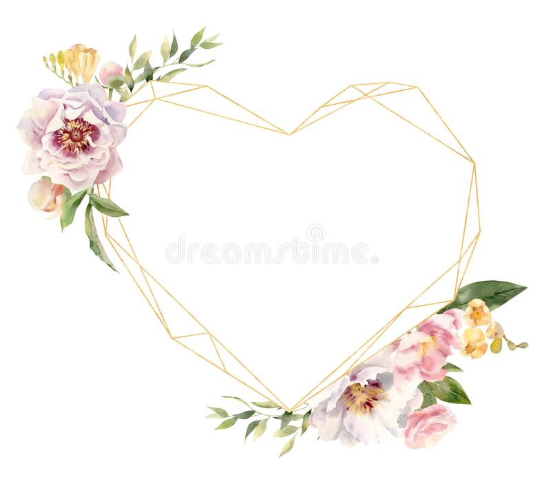 Heart shaped golden frame decorated with handpainted watercolor flowers royalty free illustration