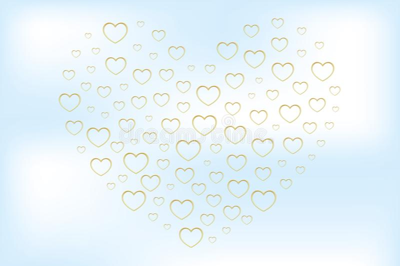 Heart shaped by golden hearts in blurred effect on cloudy sky royalty free illustration