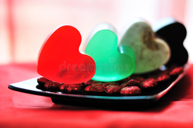 Heart shaped handmade soap stock images
