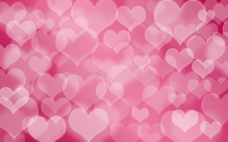 Heart shaped holiday blurred bokeh background. Valentine background vector illustration