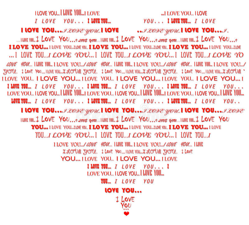Download Heart Shaped I Love You Red Word Cloud Stock Vector - Image: 36738132