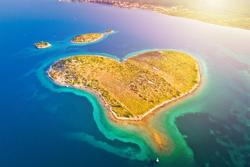 Heart shaped island of Galesnjak in Zadar archipelago aerial view royalty free stock image