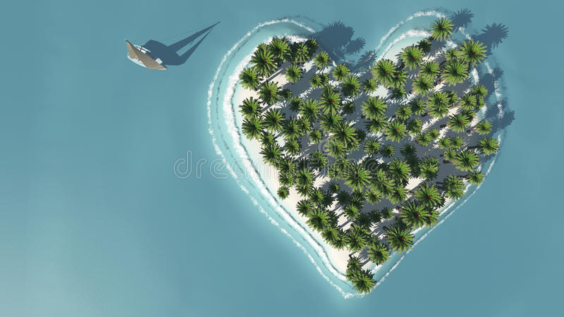 Heart-shaped island view from above royalty free illustration