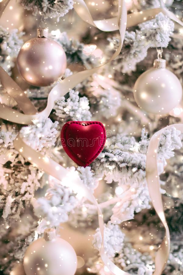 Free Heart Shaped Jewellery Gift Box On Christmas Tree, Love Present For New Years Eve, Valentines Day And Winter Holidays Royalty Free Stock Photo - 157892185