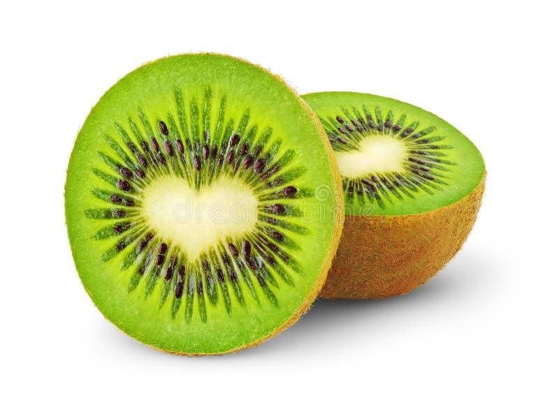 Heart-shaped kiwi fruit. Isolated kiwi. One kiwi fruit cut in half with heart-shaped core isolated on a white background royalty free stock photography