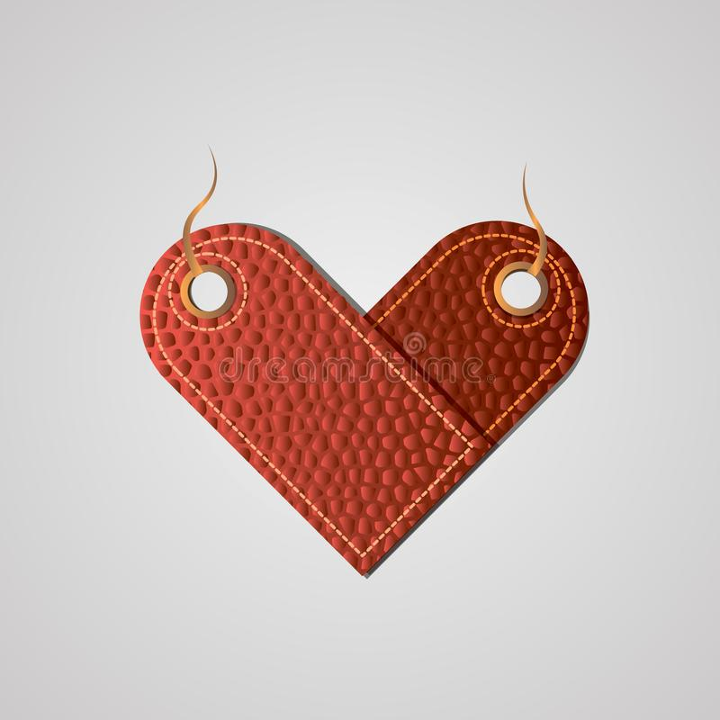 Heart-shaped label stylized as red leather for sales, price tags, for business royalty free illustration