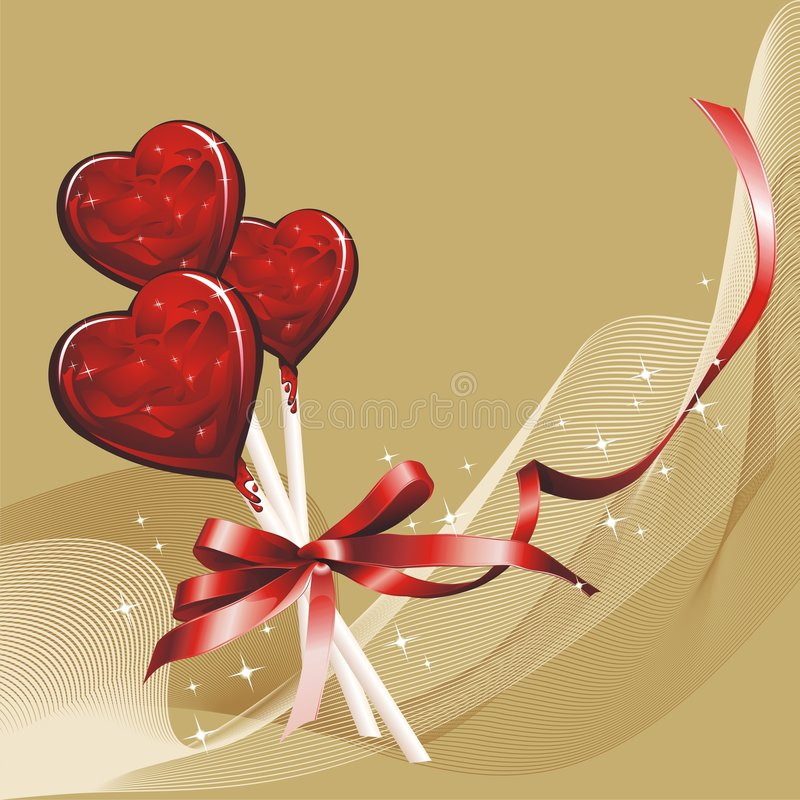 Download Heart-Shaped Lollipops stock vector. Image of glossy, cake - 8121547