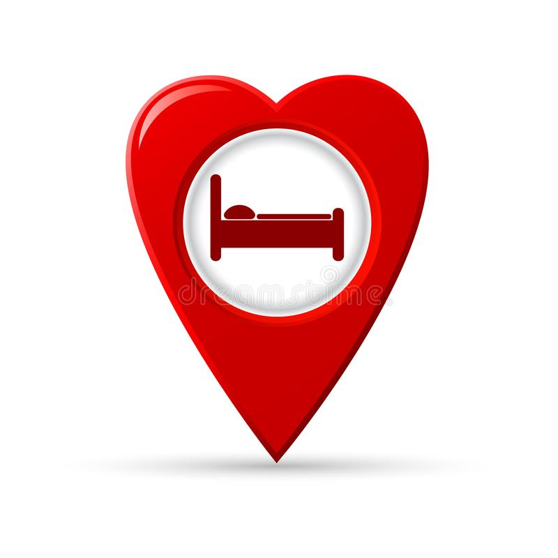 Heart shaped map pointer of hotel icon. vector illustration