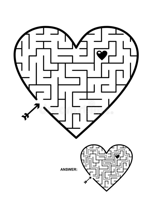 Heart shaped maze game. Valentine`s Day, wedding, romantic, etc., themed heart shaped maze or labyrinth game. Suitable both for kids and adults. Answer included vector illustration
