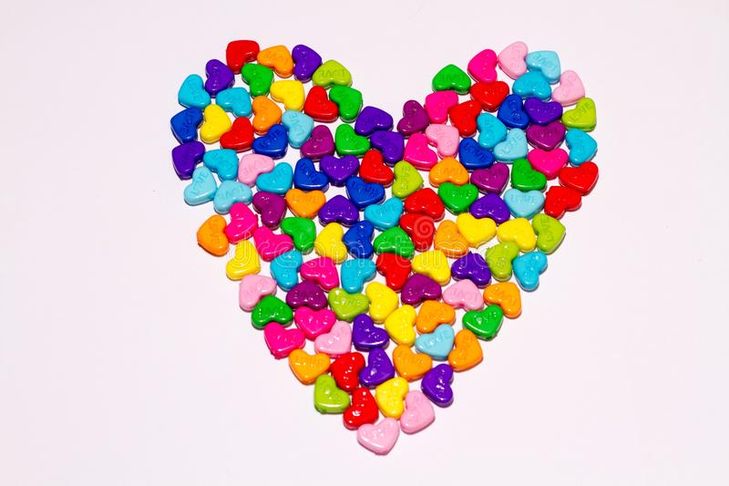 Heart shaped of multicolor painted sewing buttons royalty free stock images