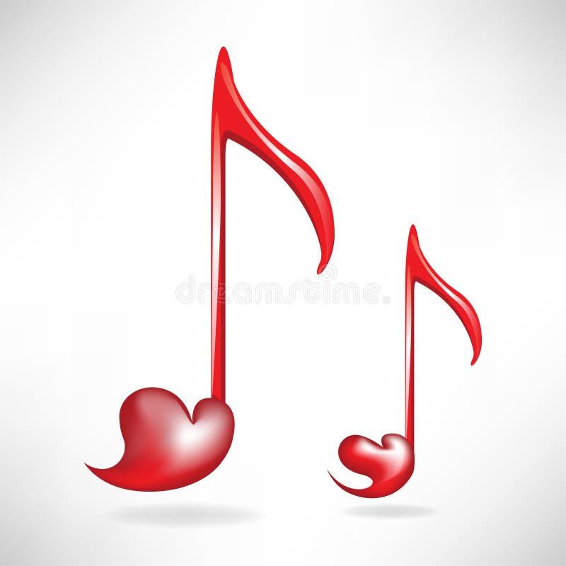 Heart shaped music keys vector illustration