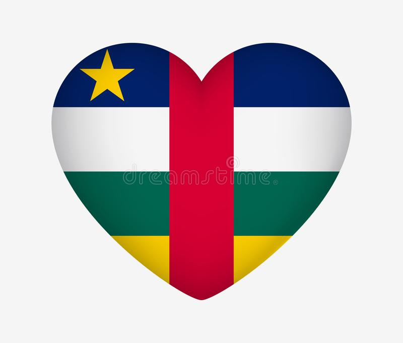 Heart Shaped National Flag of Central African Republic. I Love My Country. Vector Illustration vector illustration