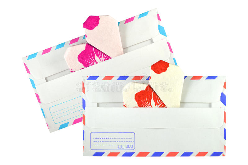 Heart shaped origami and envelope royalty free stock photography