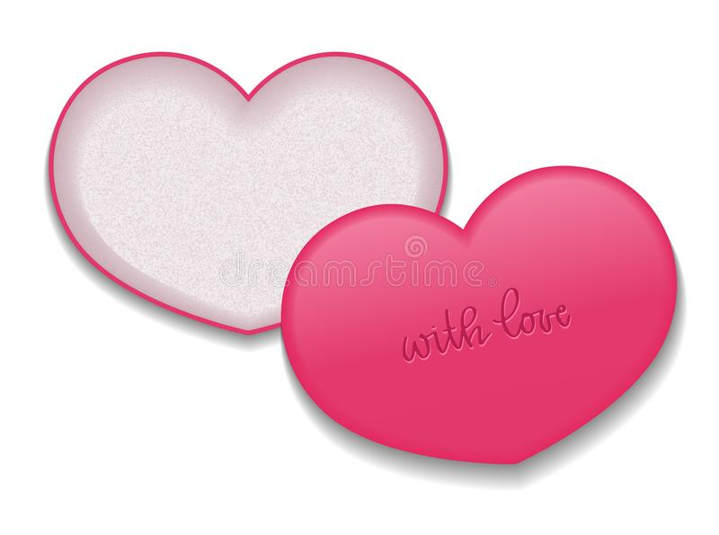 Heart shaped packaging for cosmetic products. Vector isolated template with inscription.  stock illustration