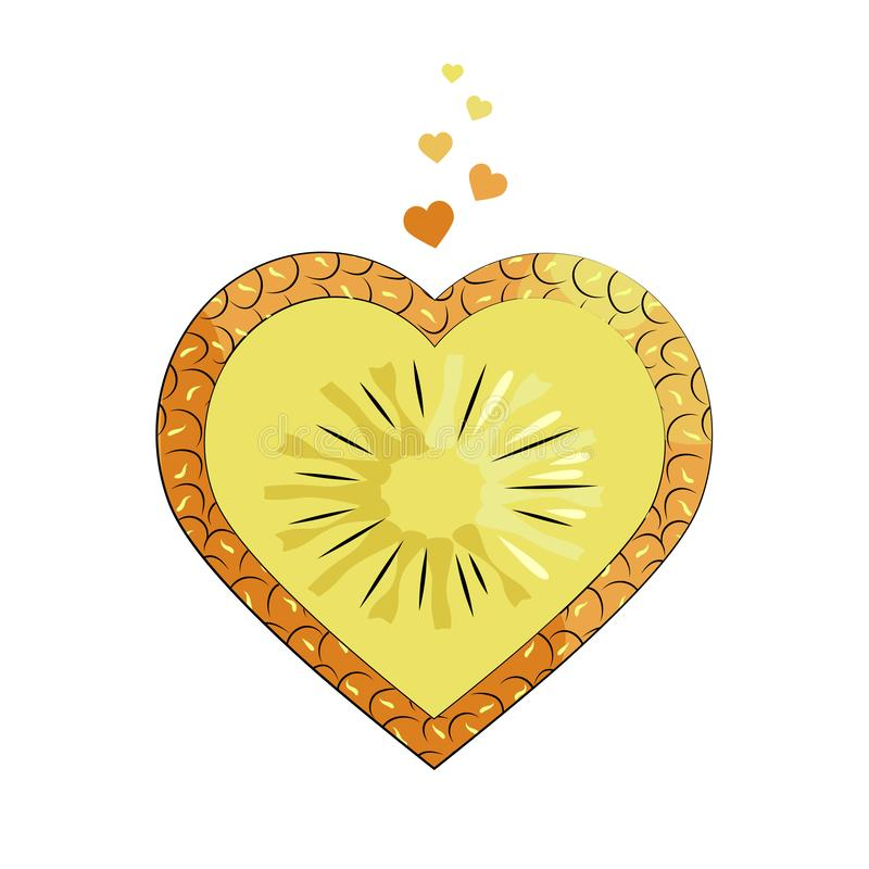 Heart-shaped pineapple slice. Bright summer design. Textile. Packaging. Isolated object on white background. Juicy fruit stock illustration