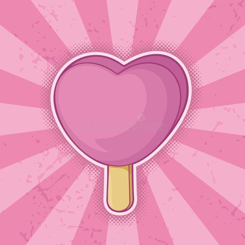 Heart Shaped Pink Ice Cream Stick Stock Photo