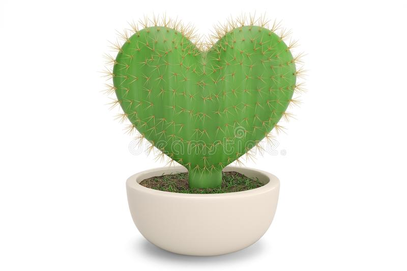 A heart shaped prickly pear cactus.3D illustration. stock illustration