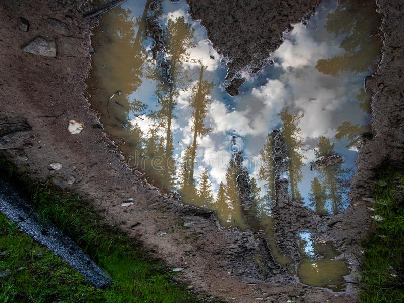 Heart shaped puddle reflecting the sky royalty free stock image