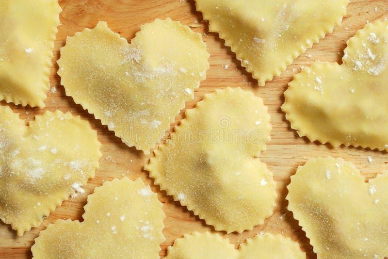 Heart-shaped ravioli royalty free stock photo