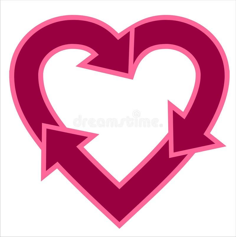 Heart-shaped recicl o logotipo ilustração royalty free