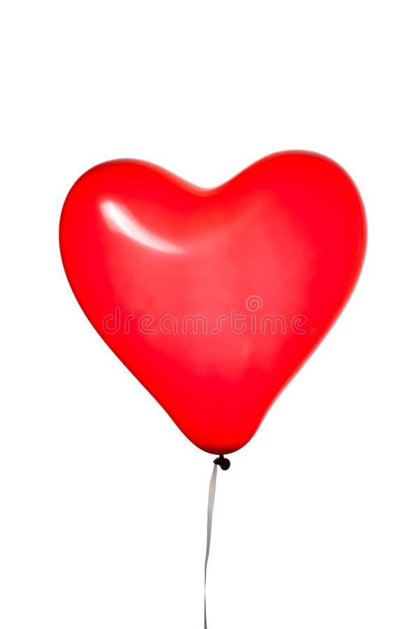 Heart shaped red balloon. Isolated on white stock photo