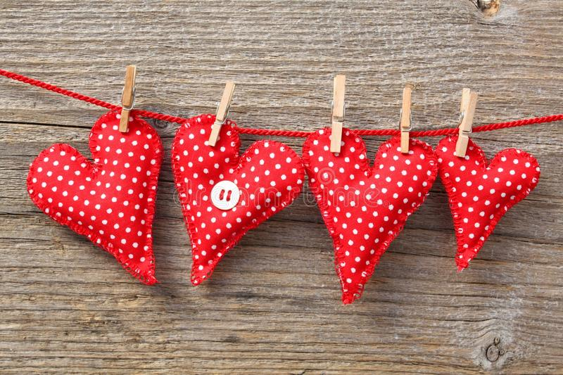 Heart shaped red cushions royalty free stock photo