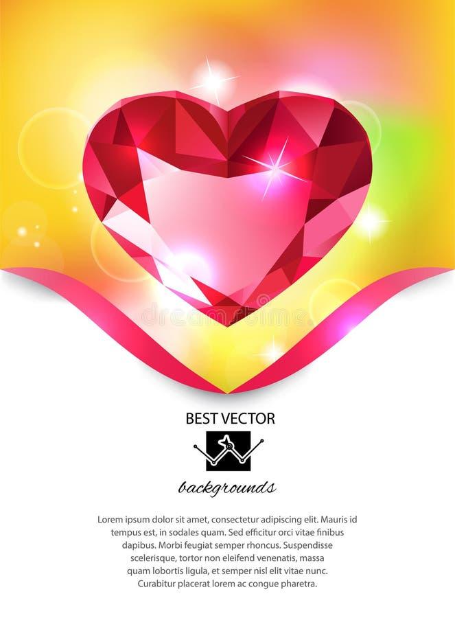 Heart-shaped red diamond vector background stock illustration