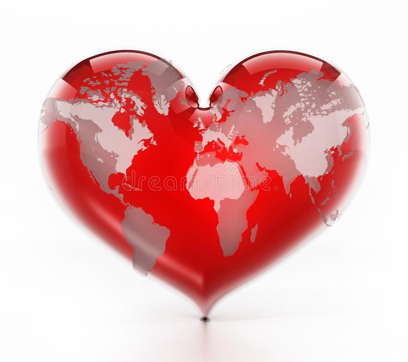 Heart shaped red earth isolated on white background. 3D illustration stock illustration
