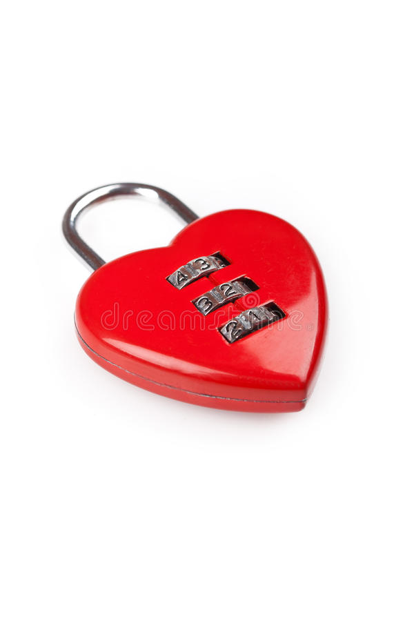 Heart shaped red lock. Picture of a heart shaped red lock on a white background stock photos