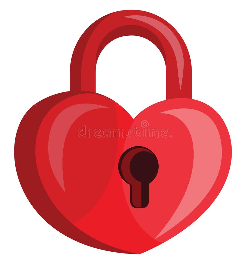 Heart shaped red padlock with a key hole vector illustration. On white background royalty free illustration