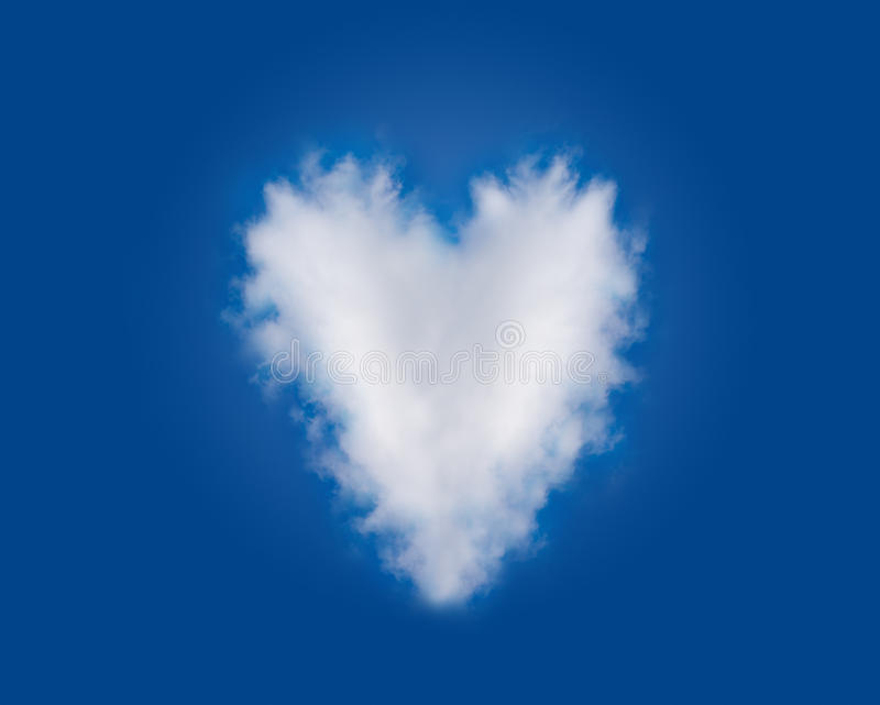 Heart Shaped Romantic Love Cloud in Blue Sky stock photo