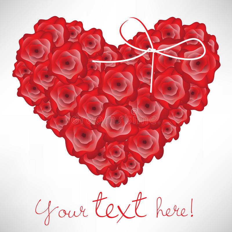Heart shaped roses card stock illustration