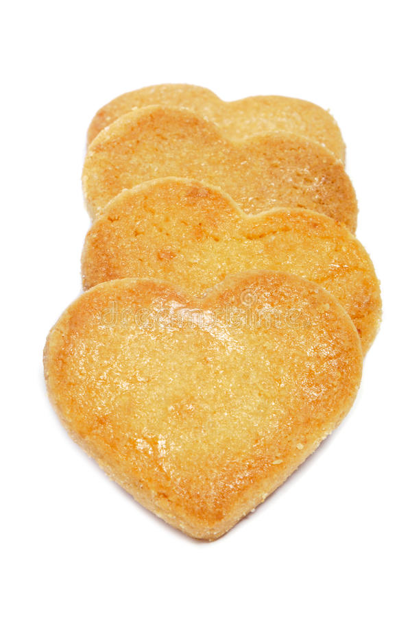 Heart-shaped shortbread biscuits stock photography