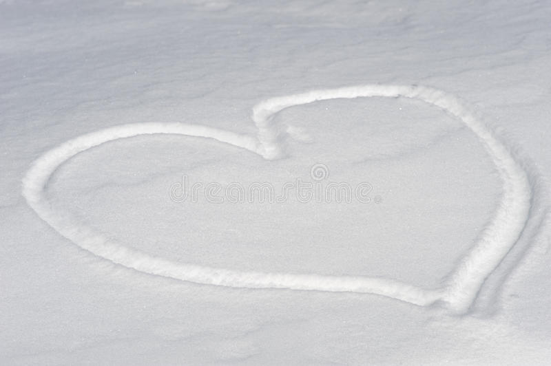 Heart-shaped On The Snow Royalty Free Stock Images