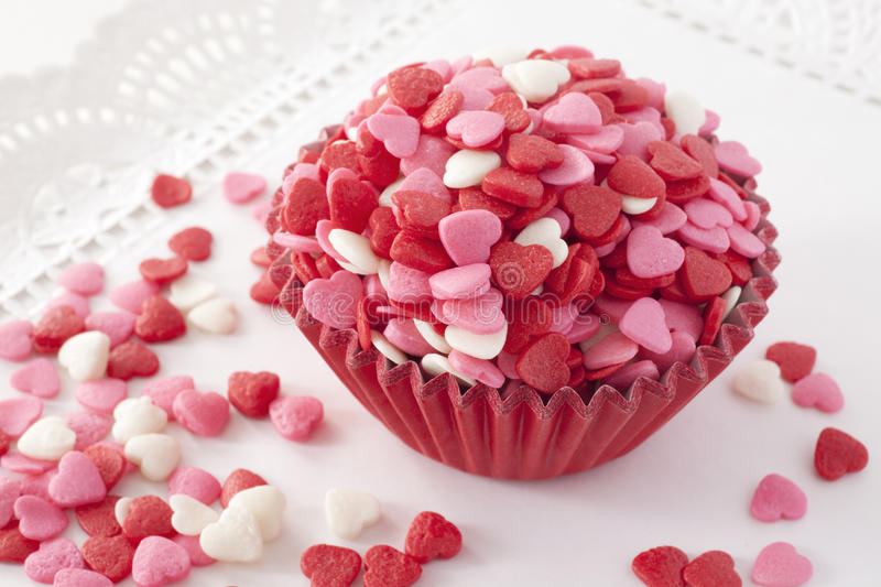 Heart shaped sprinkles. Closeup stock photo
