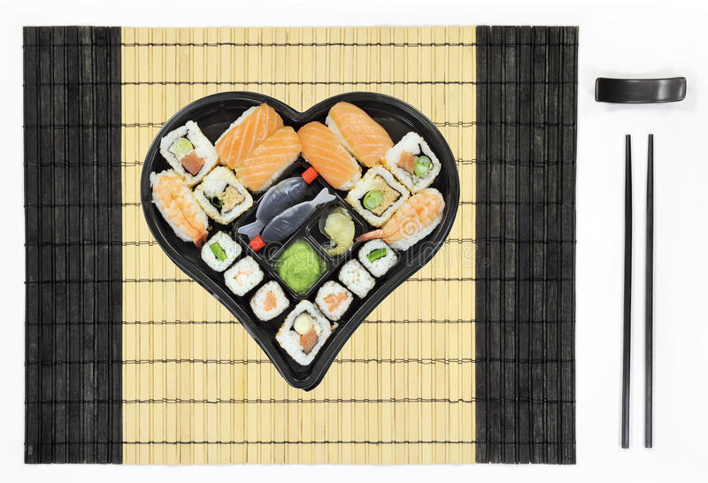 Download Heart Shaped Sushi Plate On Tablemat Stock Photo - Image: 24863134
