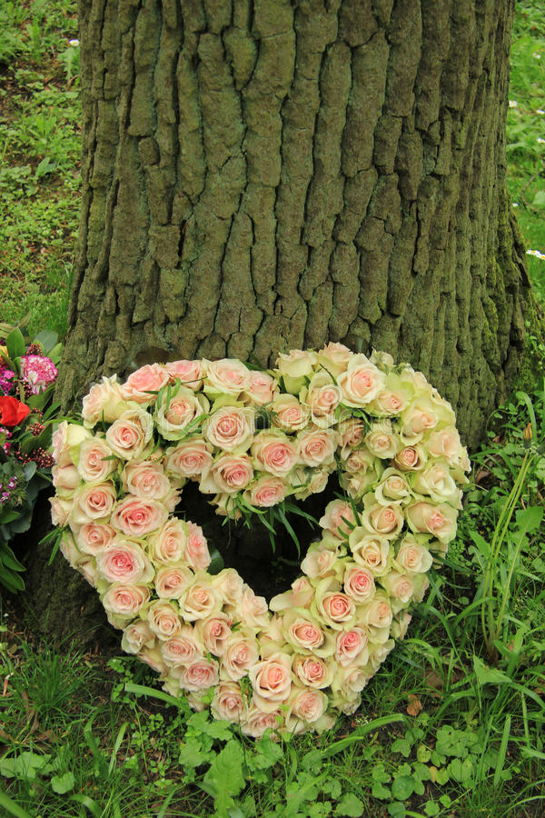 Heart shaped sympathy flowers stock images