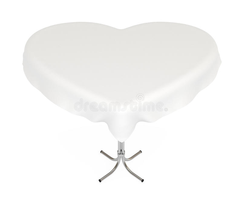 Heart-shaped table with cloth, with clipping path