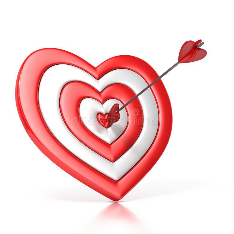 Heart shaped target with the arrow in the center vector illustration