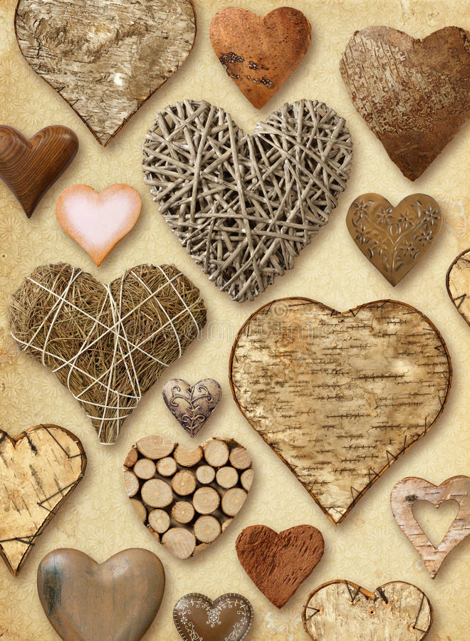 Heart shaped things on vintage paper stock photography