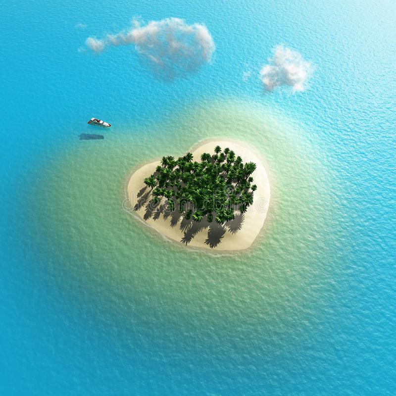 Heart-shaped tropical island royalty free illustration